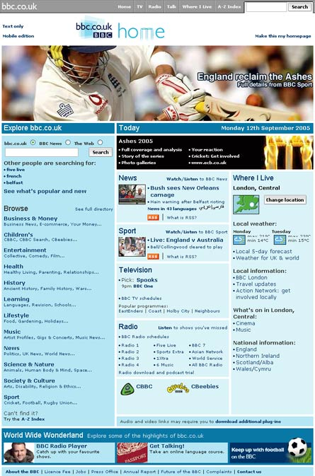 Special BBC Ashes homepage in 2005