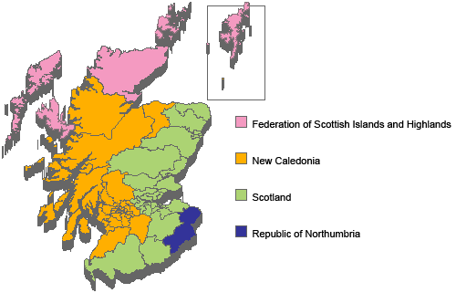 Map of 2058 post-Civil War Scotland