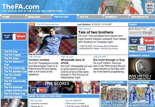 English FA Cup homepage