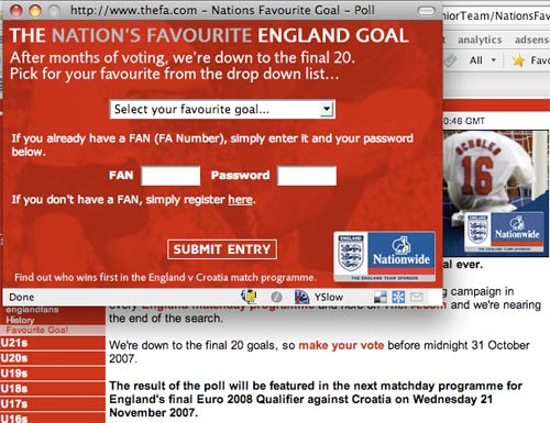 Nation's Favourite Goal vote
