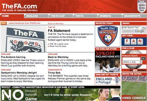 English FA homepage