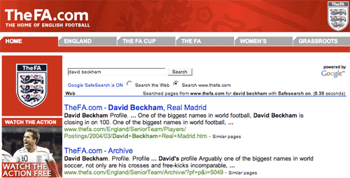 English FA search results page