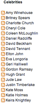 Daily Mail celebrity RSS feeds