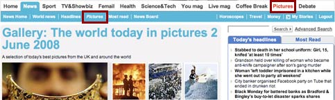 Daily Mail pictures navigation
