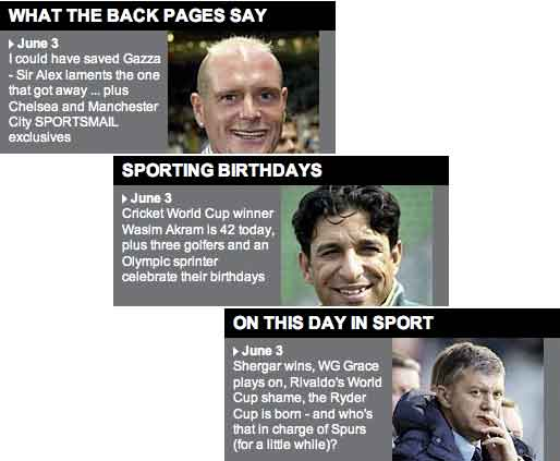 Daily Mail sports homepage features