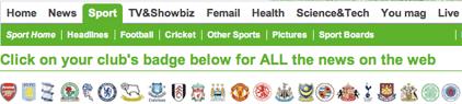 Daily Mail visual football navigation