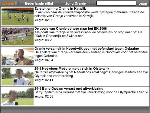 Clip menu for the Dutch FA's TV channel