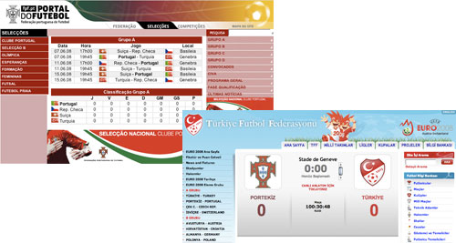 Portugal and Turkey FA web sites