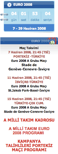 Turkish Euro 2008 countdown and fixture list