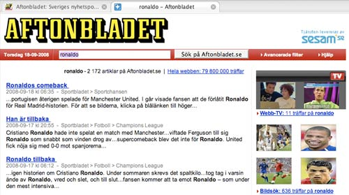 Aftonbladet search results page