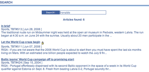 Baltic Times results indicate which items are subscription only