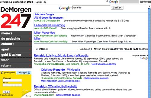 De Morgen Google search results