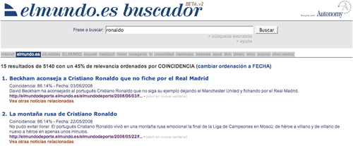 El Mundo search results with 18 tabs