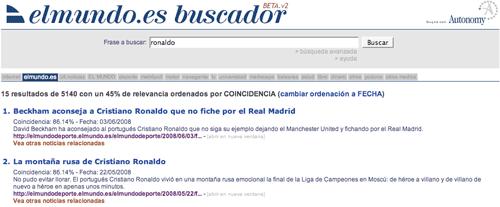 El Mundo search results with 18 tabs