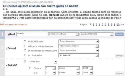 El País advanced search footer