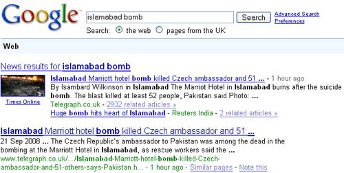 Google with thumbnail news image