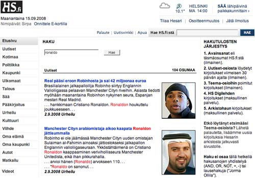 Helsingin Sanomat search results