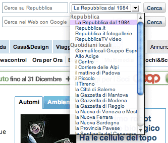 La Repubblica's extensive drop-down menu options