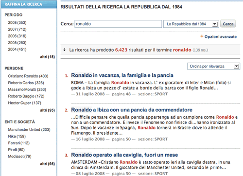 La Repubblica search engine results