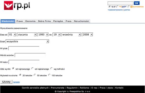 Rzeczpospolita advanced search form