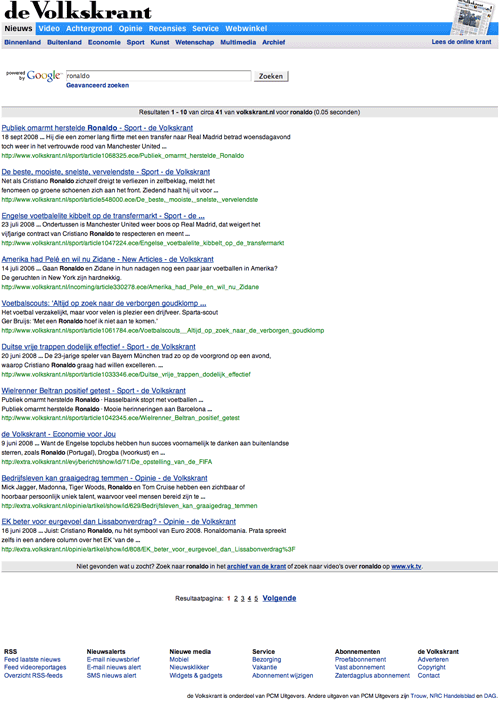 Volkskrant Google powered search results