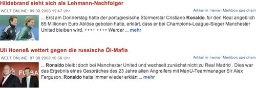 Welt Online search results with thumbnail images