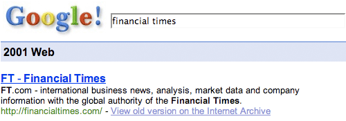 Google 2001 search for Financial Times