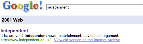 The Independent on Google 2001