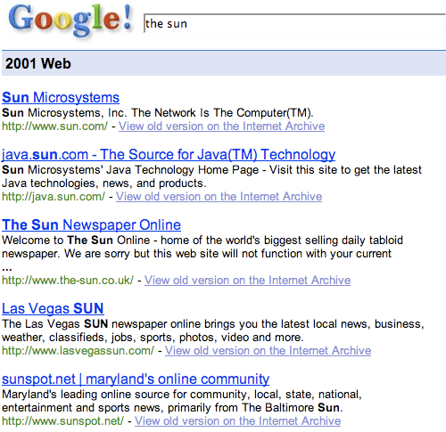 Google - The Sun in 2001