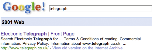 Electronic Telegraph on Google