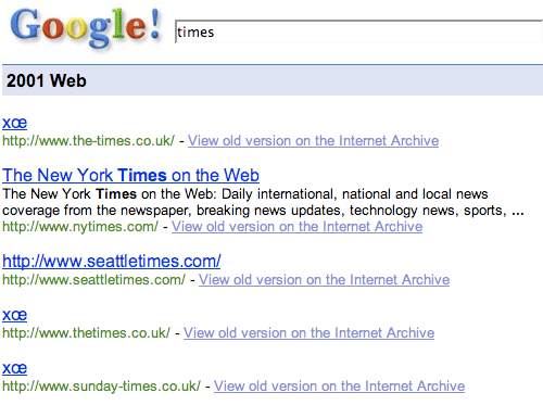 Various Times URLs on Google 2001