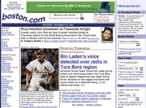 Boston Globe in 2001