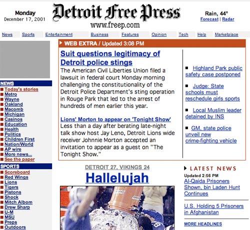 Detroit Free Press in 2001
