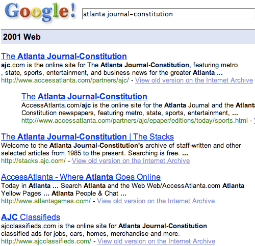 Google results for Atlanta Journal-Constitution