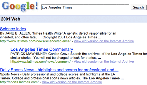 Google 2001 results for the LA Times