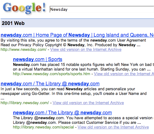 Google 2001 results for Newsday