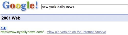 Google 2001 results for New York Daily news