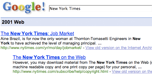 New York Times on Google 2001