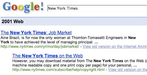 New York Times on Google 2001