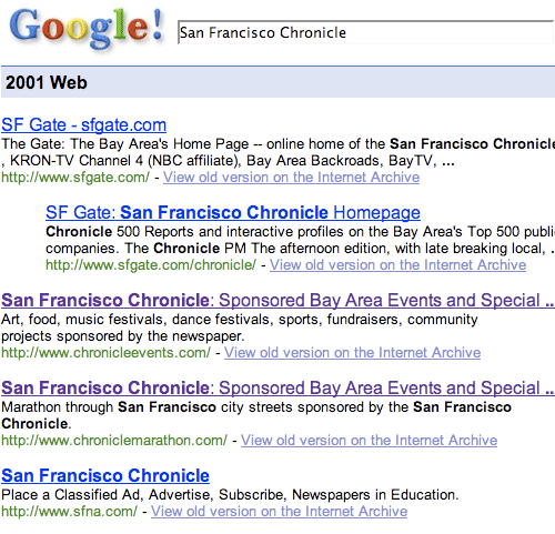 2001 Google search for the San Francisco