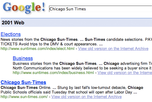 Google Sun-Times results