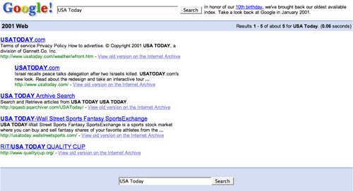 Google USA Today search yields 5 results in 2001