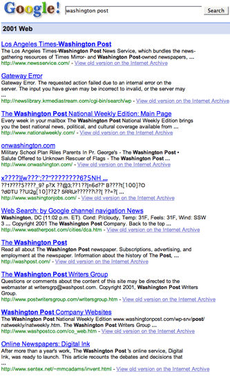 Google Washington Post results