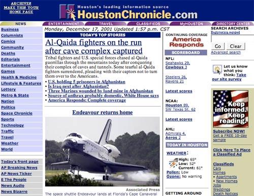 Houston Chrnoicle in 2001