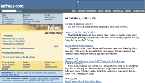 The LA Times in 2001