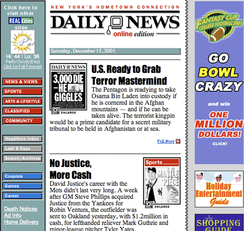 New York Daily News in 2001