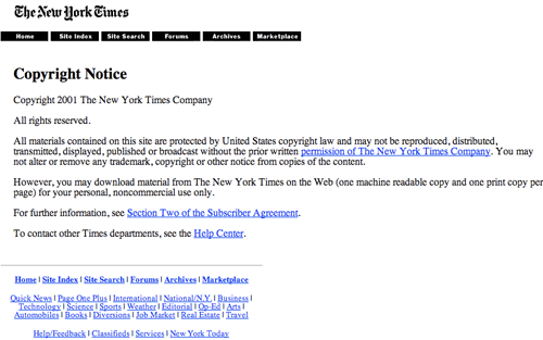 New York Times 2001 copyright notice