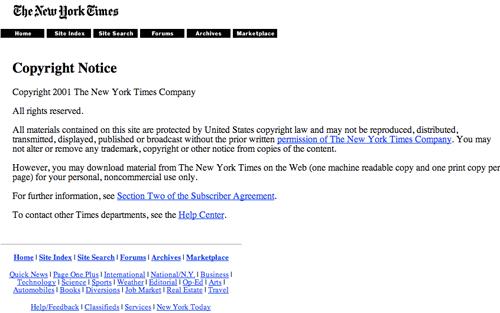 New York Times 2001 copyright notice