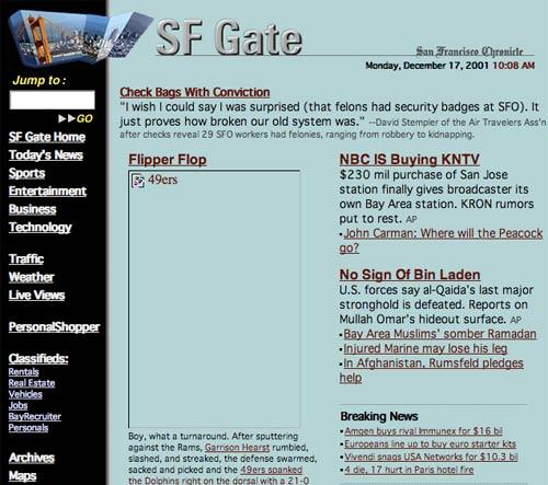 SFGate site in 2001