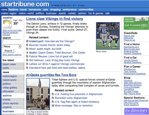 Minneapolis Star Tribune in 2001